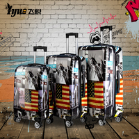Custom print waterproof hard shell trolley case suitcase sets travelling bags carry-on luggage
