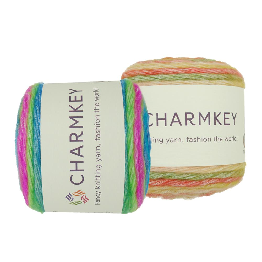 Charmkey New soft fancy hand knitting cake yarn ball cotton acrylic cake ball knit melang color patterns