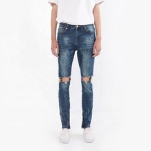 DiZNEW 2019 Wholesale New Fashion cotton damaged slim blue jeans for men