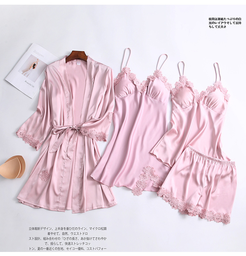 cheap customized high quality four piece suit sleepwear long sleeve robe casual polyester satin pajamas women
