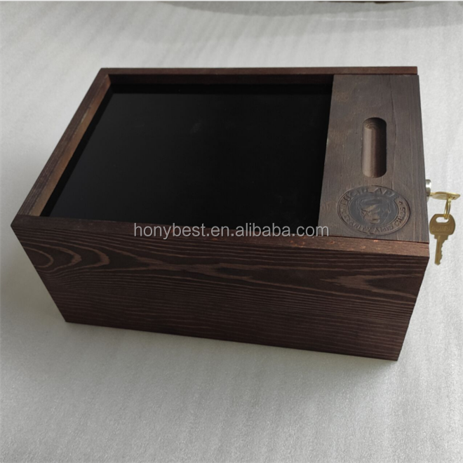 Plain Unfinished Storage Wooden Boxes with Lock and Key for Gift Packaging