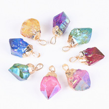 Angel Aura Quartz Moon Charm Pendant Rainbow Quartz Crystal <strong>Point</strong> Pendant Necklace With Gold Electroplated Tumbled Stone