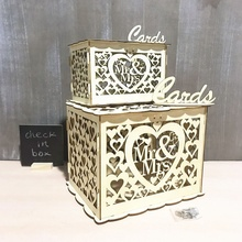 Mr & Mrs Wooden Love DIY Wooden Business Card Gift Card Box for Hollow Leaf Wedding Lock Wedding Money Invitation Box