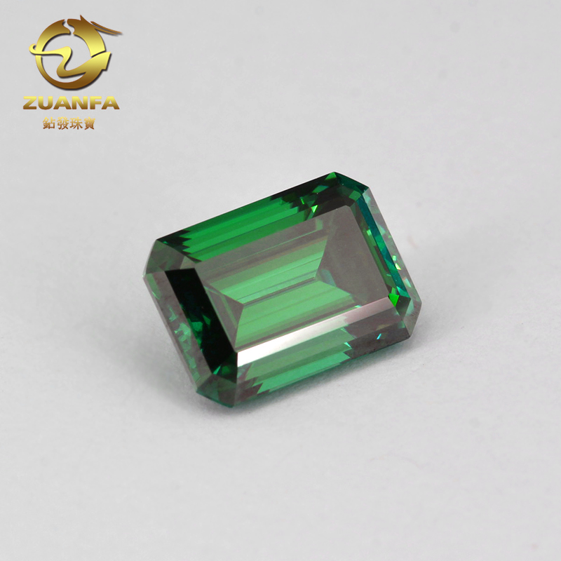 Lab grown diamond moissanite green color emerald <strong>cut</strong> 5x7mm moissanite