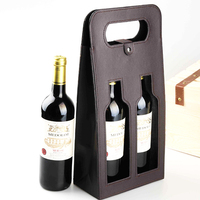 Wholesale 2 Bottles Package Leather Wine Tote Bag Gift Box With Window Design
