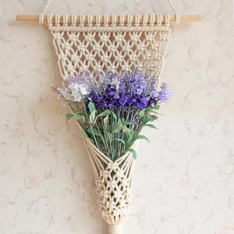 Indoor decoration in the <strong>living</strong> room cotton rope pot macrame plant hanger for home garden