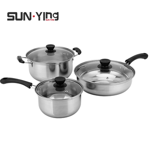 Cooking pot set stainless steel 3PCS Non Stick Cooking Pots And Pans soup milk pot frying pan tableware with Bakelite handle