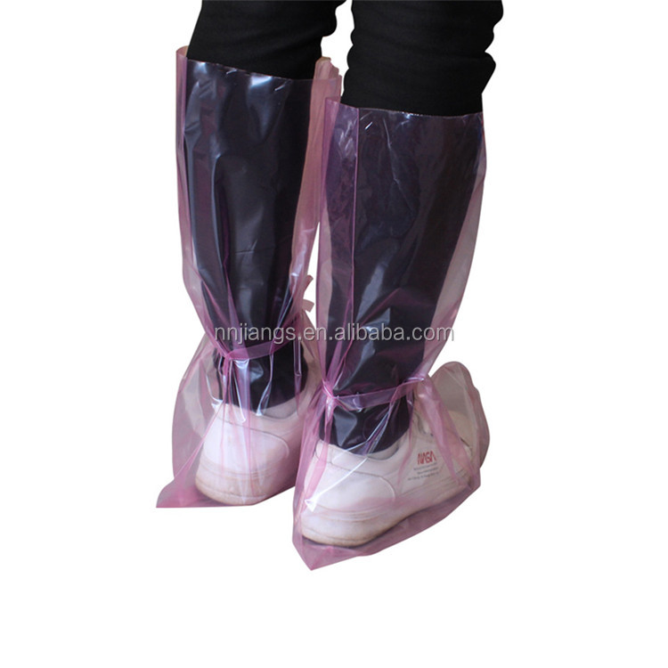 anti slip with strap disposable high overboots for rain