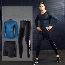 Men's Running Fitness Clothes Gym <strong>Sports</strong> Suits Quick Dry Yoga Tights Three Piece <strong>Sport</strong> Suit