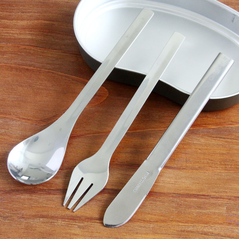 Stainless Steel Compact 3 in 1 Cutlery Set Fork Spoon Knife Portable Picnic Tableware