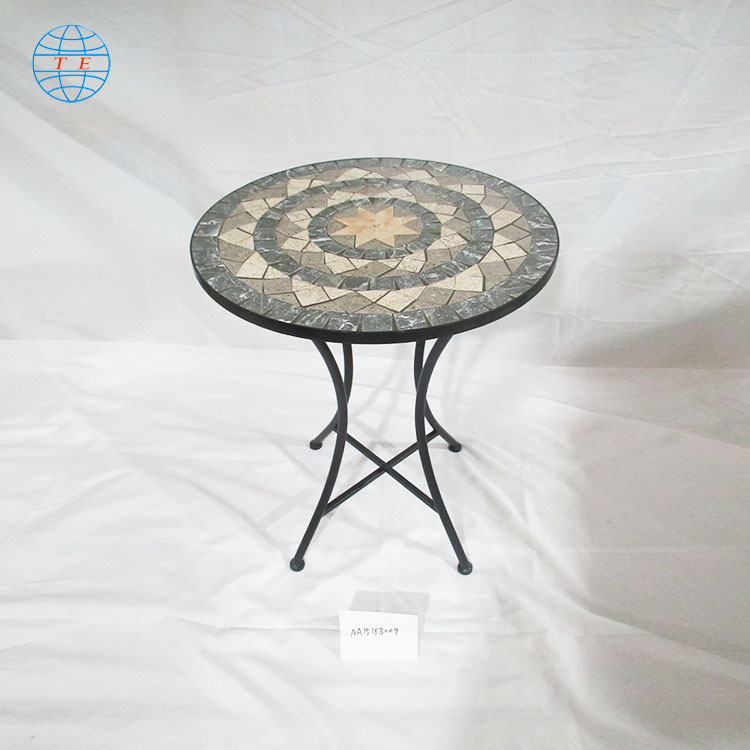 round mosaic pattern top table for modern furniture,cheap outdoor mosaic metal table