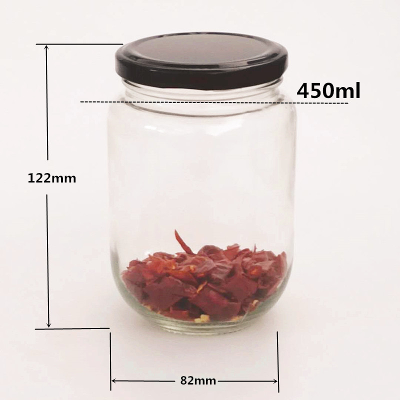 450ml Wide Mouth Round Food Grade Glass Empty Jar with Screw Metal Lids for Storing Food Herbs,Honey,Pickled Vegetables,