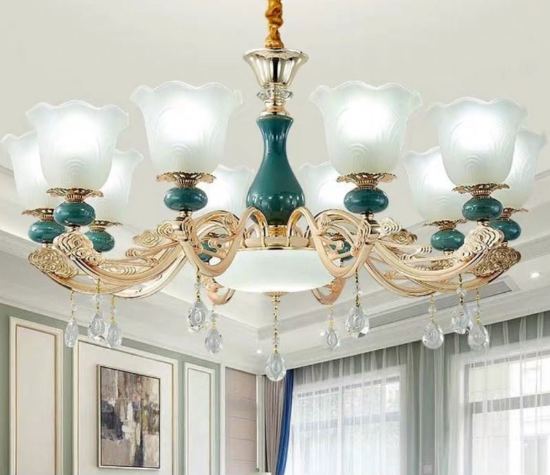 2019 european living room crystal chandelier luxury atmospheric household post-modern simple restaurant candle chandelier jade <strong>j</strong>