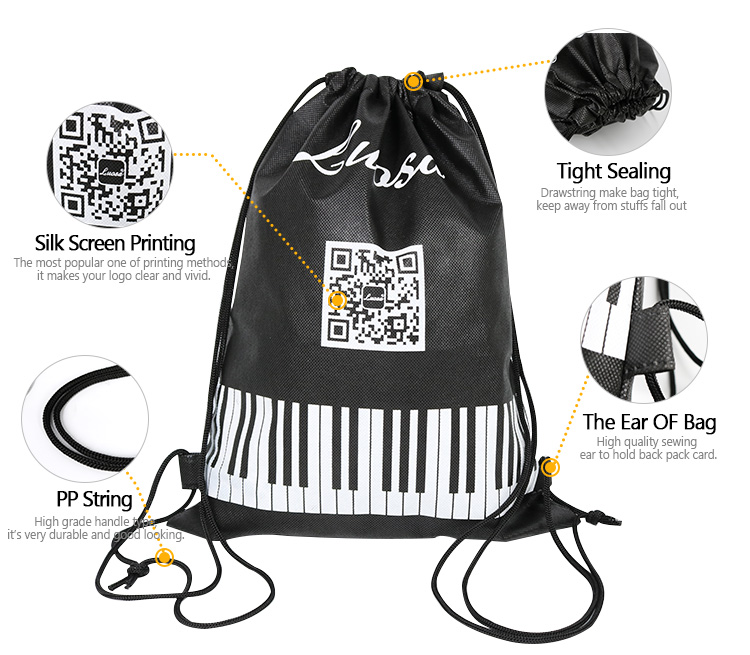 Wholesale custom high quality hiking backpack non woven drawstring bag