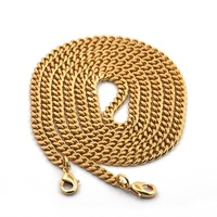 High Quality Fashion Decorative Gold Stainless Steel Flat Necklace Chain With Snap Hook Connector
