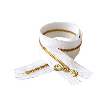 #3 metal gold teeth white tape zipper