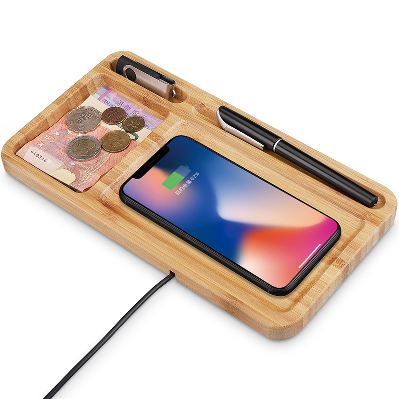 2019 Gift Box Best Quality Custom Logo <strong>Bamboo</strong> Charging Fast Qi Wireless USB Charger For iPhone