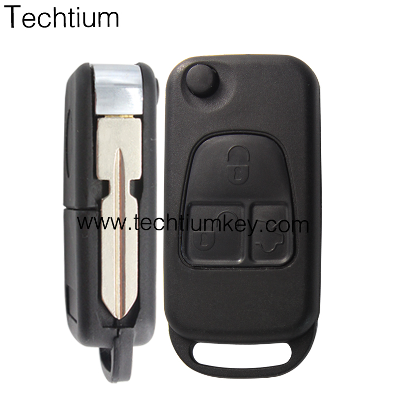 3 button fob remote key shell with 4 track blade for Benz mercedes w203 w205 w123 w211 <strong>w124</strong>