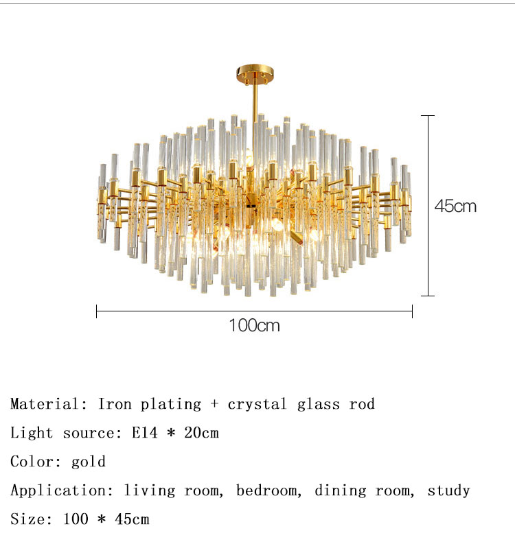Wholesale modern living room light luxury crystal lamp golden dining room round chandelier Nordic lamps