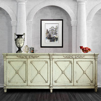 Antique Living Room Vintage Rustic Pine Wood Furniture Classic European Style Carved Sideboard