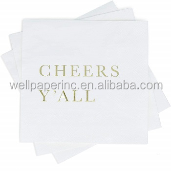 1/4 fold White cocktail paper napkin with full color printing guest towels