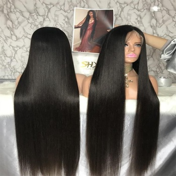 SHY Full Lace wig 40 Inch Very Long Silky Straight Human Hair Wigs Middle Part Natural Black Color Wigs