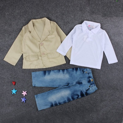 New Design toddler boys casual suit clothing set Boys suit <strong>coat</strong> + polo shirt + jeans pants 3pcs Clothing Set