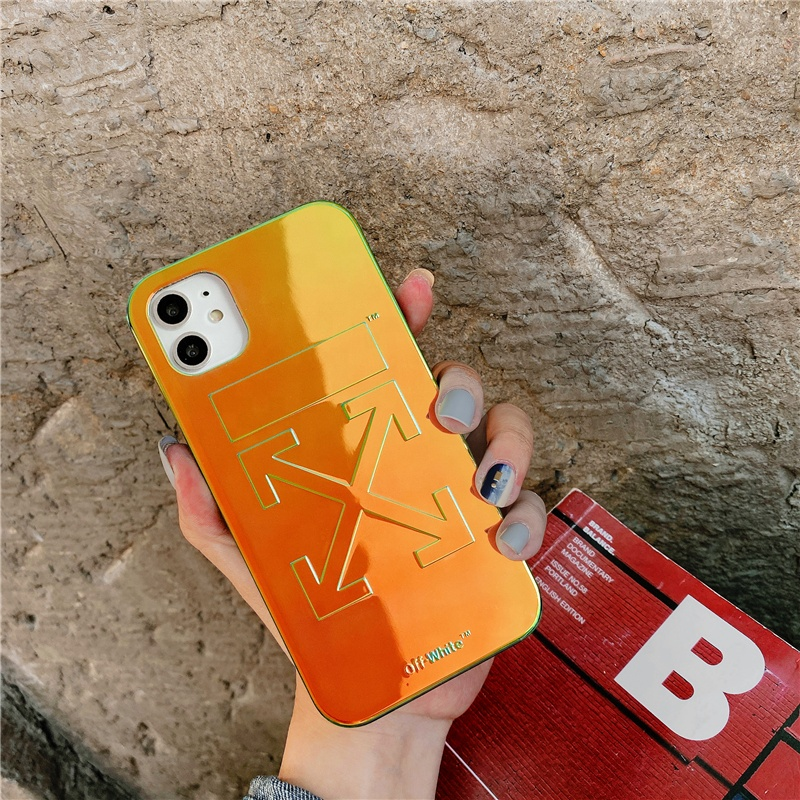2020 Modern case for all <strong>iphone</strong> models laser shiny cell phone case full protection off white luxury style