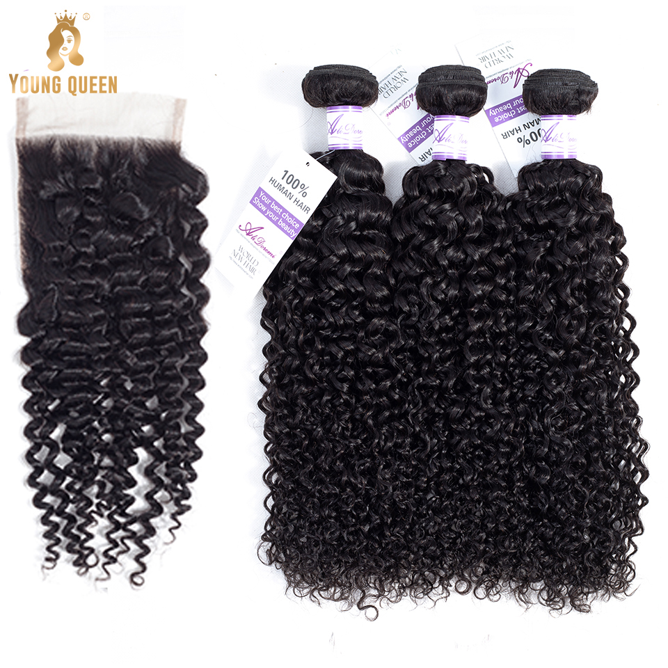 Young Queen unprocessed virgin brazilian hair bundle kinky curly weaving raw virgin human vendors 4*4 lace closure with bundles