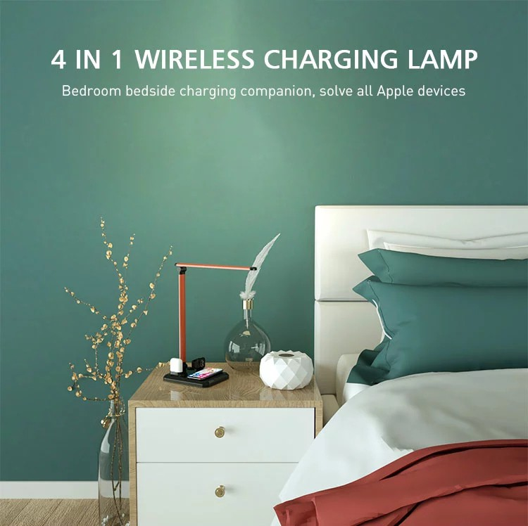 4 In 1 Smart Watch Wireless Charger Led Table Lamp Desk Lamp Wireless Charger