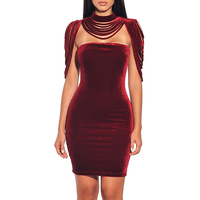 Sexy Red Velvet Bodycon Party Evening Detachable Collar Short Dress