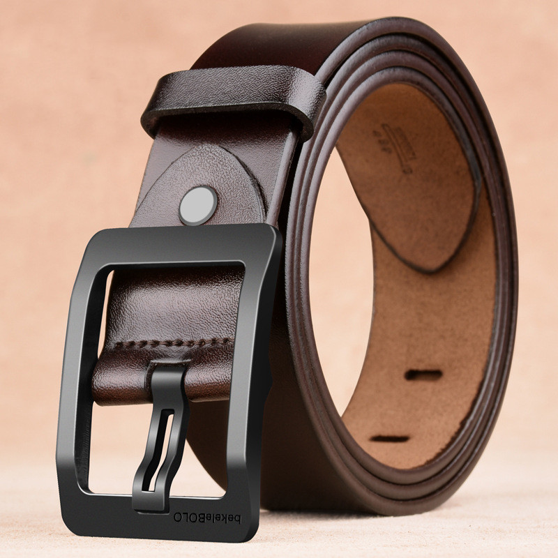 New style carbon fiber buckle soft genuine leather belts for men