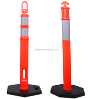 Most Popular Plastic Safety Guide Film Reflective T top traffic parking plastic bollard