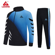New style muscle fit black and blue gym clothes men stripe training jogging polyester tracksuit