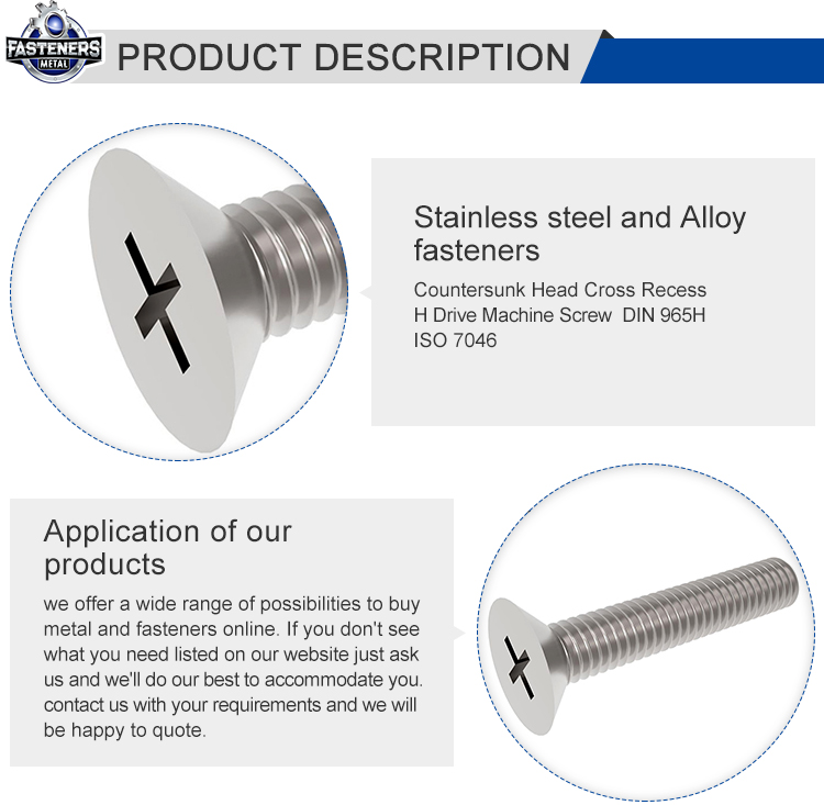 Custom high strength stainless steel full thread phillips countersunk head machine bolt