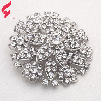 Silver Wedding Invitation Flower Lapel Pin With Large Rhinestone Suit Pearl Rose Rhinestone Brooch Crystal