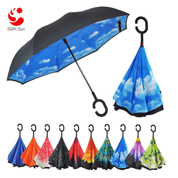 Custom Printed Reverse Upside Down Umbrella Double Layer Inside Out <strong>C</strong> Hands Free Inverted Umbrella