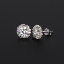 14k 18k white gold one carat synthetic moissanite <strong>earrings</strong> with side lab diamond Fine jewelry