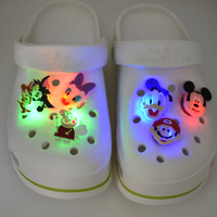 LED-T Stock Transparent Design PVC Rubber Light up Flashing Shoe Charms Accessories Buckles For Clog Shoes