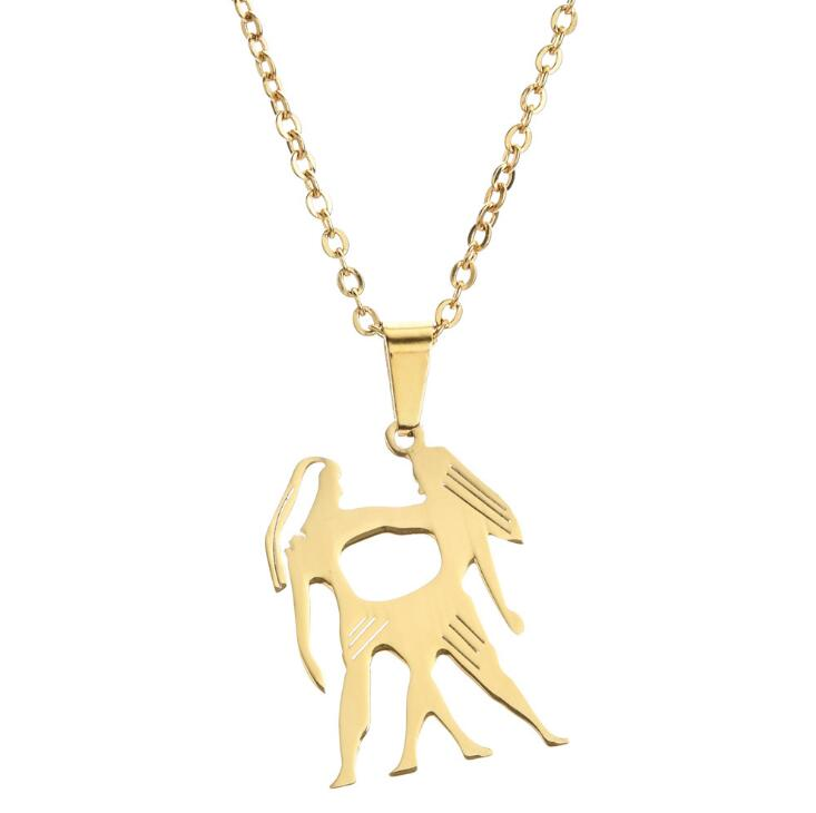 Stainless <strong>Steel</strong> Animal Pattern Jewelry 12 Zodiac Necklace 18k Gold Astrology Zodiac Sign Pendant Necklace