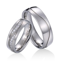 Luxury titanium wedding bands diamond dolphin wedding rings for couples women zircon