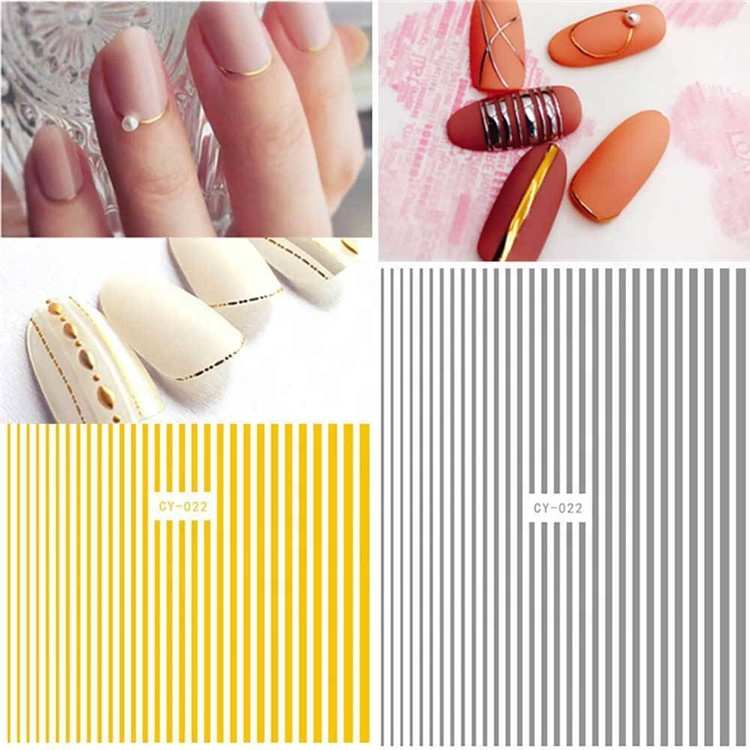 1 Pcs Nail Stickers 3D Nail Art Sticker Decal Manicure Gold Stripe Love Heart Glitter Decorations For Nails Accessories