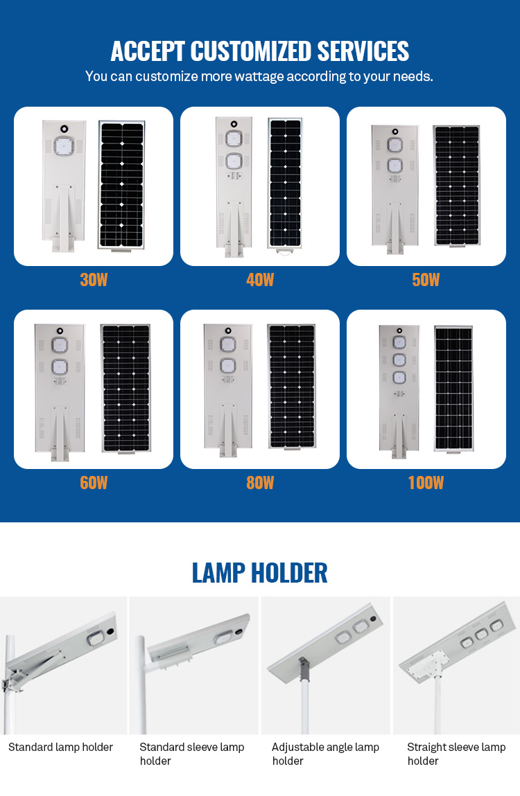 New 30W portable all in one solar light integrated lithium battery led solar street light