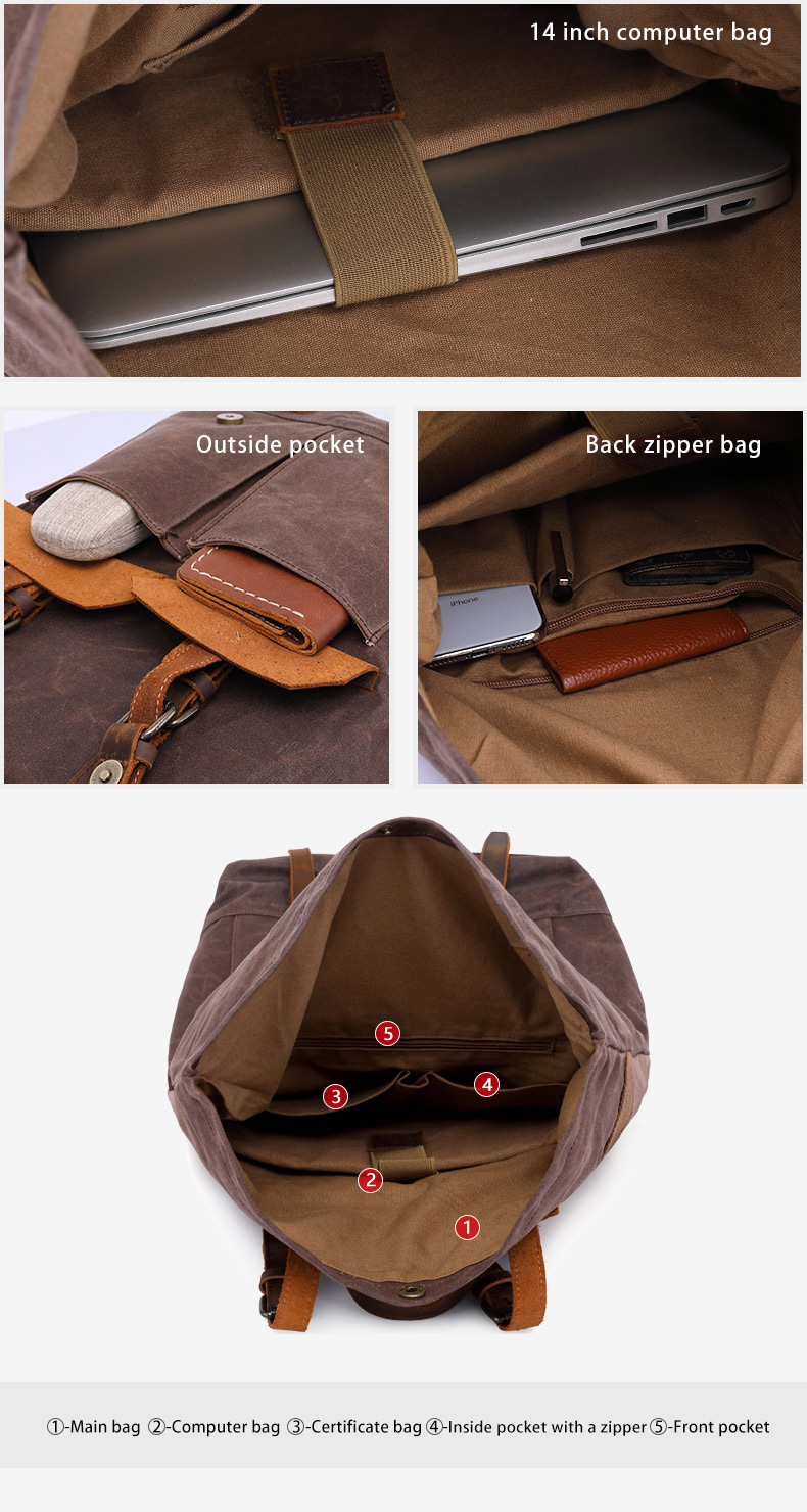 British design wholesale stylish unisex outdoor Camping hiking waterproof waxed canvas leather bagpack backpack back pack bag