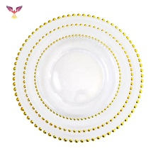 Wedding Glass Gold Beaded Food Safe Cheap Wholesale 13&quot; Luxury Crystal Charger <strong>Plate</strong>