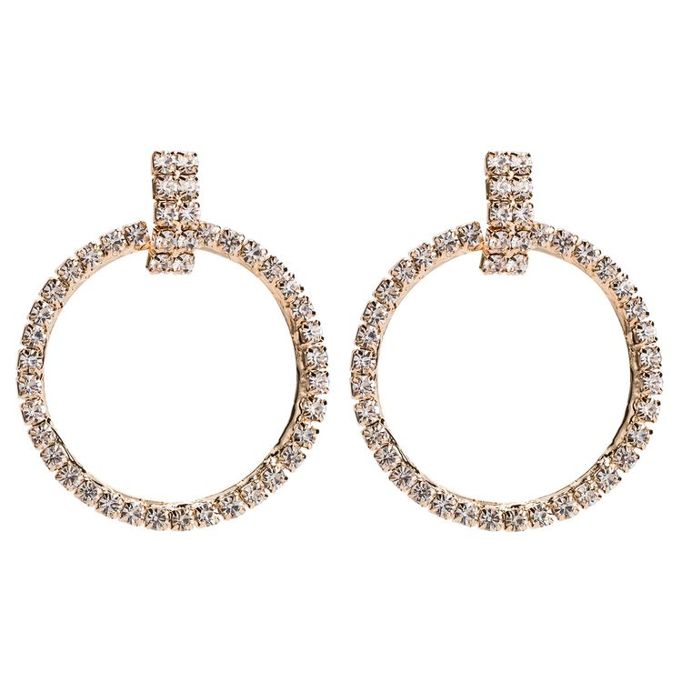 2020 Hot Sell New Design Copper Accessories Silver Round Circle Rhinestone Earrings For Women
