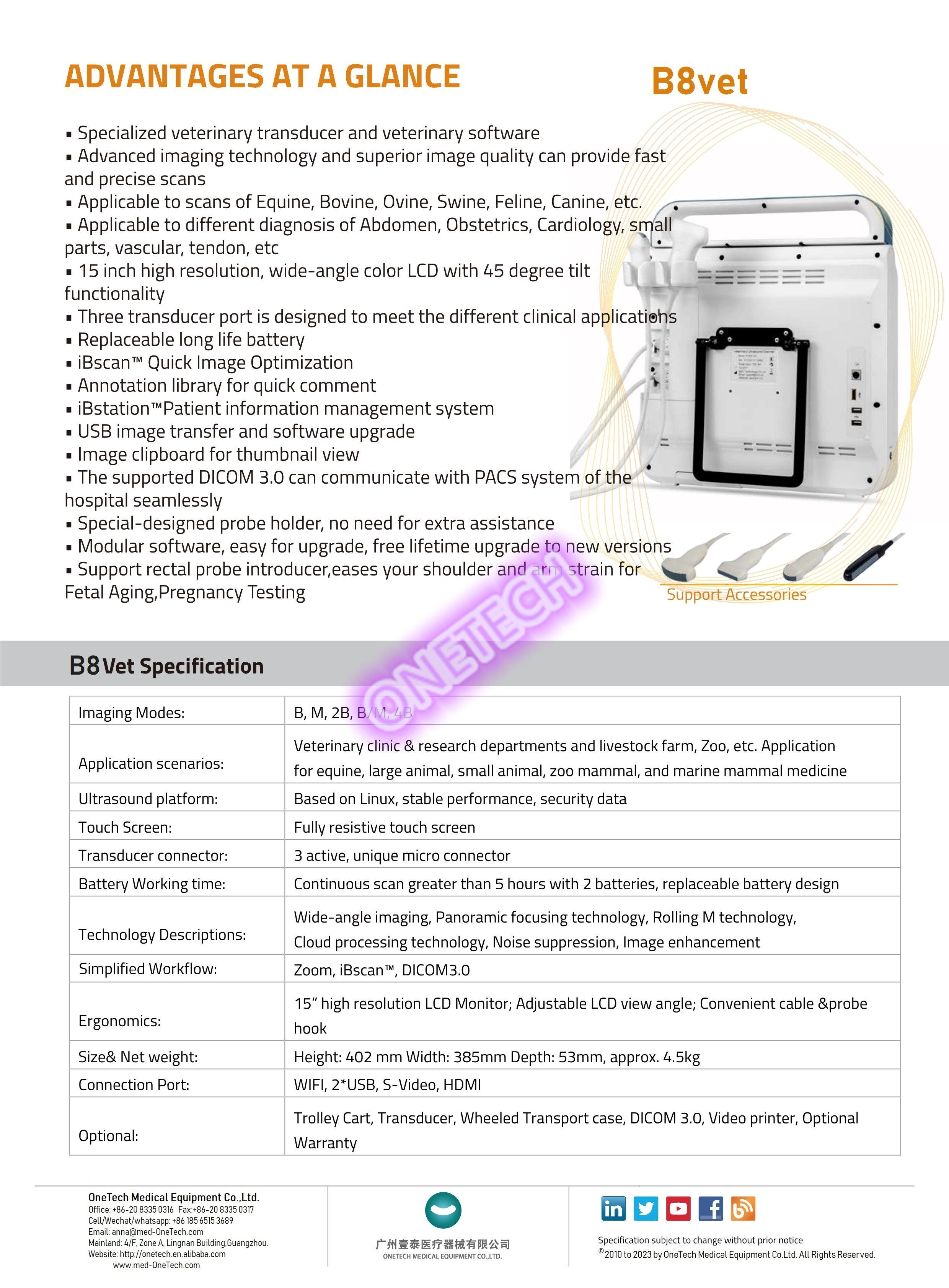 Large touch screen veterinary ultrasound machine scanner for dogs, cats, sheep, horses B8vet with good price