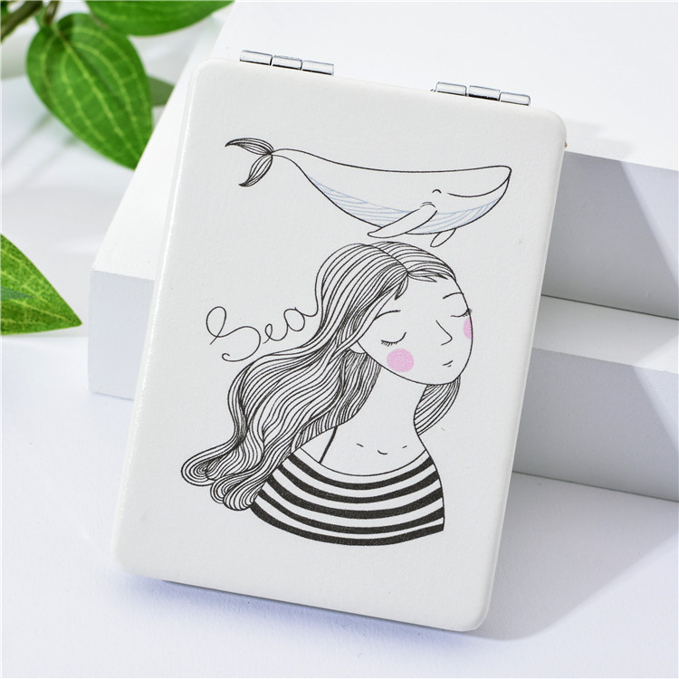 Foldable Handheld Pocket Magnified Vanity Mirror Makeup Mirror, Double Sided Magnifying Pocket Handheld Mirror