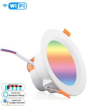 WiFi Smart LED <strong>Downlight</strong> LED Dimming Round Recessed Spot Light 7W RGB 2700K-6500K W + C light Compatible with Alexa