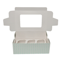 6 Holes Kraft Brown White Cup Cake Packaging Cupcake Boxes With Clear Windows